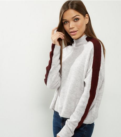 Light Grey Stipe Sleeve Funnel Neck Sweater  | New Look