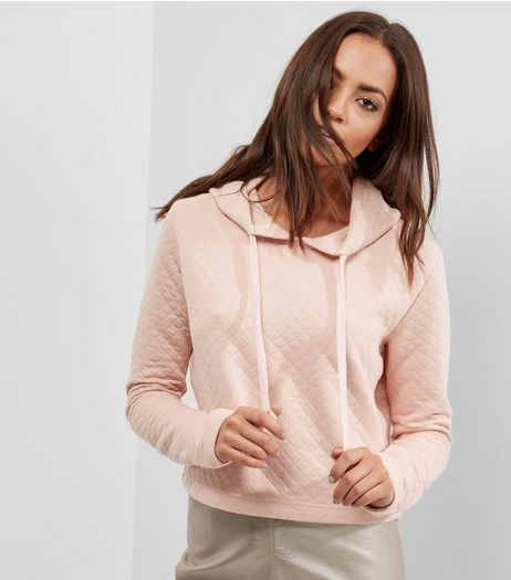 Shell Pink Quilted Cropped Hoodie  | New Look
