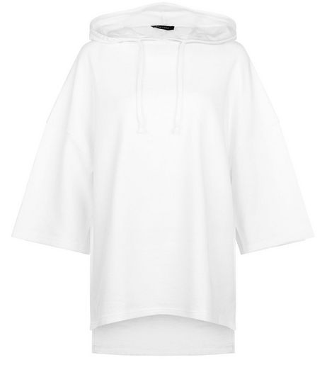 White Step Hem Oversized Hoodie  | New Look