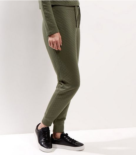 Khaki Quilted Tie Waist Joggers  | New Look