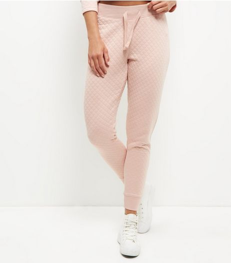 Shell Pink Quilted Joggers  | New Look