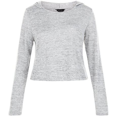 Pale Grey Fine Knit Crop Hooded Sweater | New Look