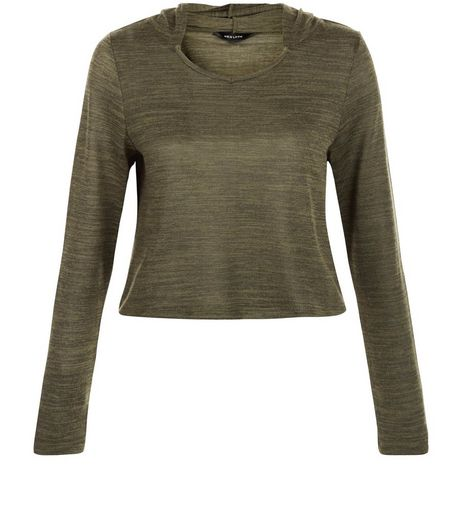 Khaki Fine Knit Crop Hooded Sweater | New Look
