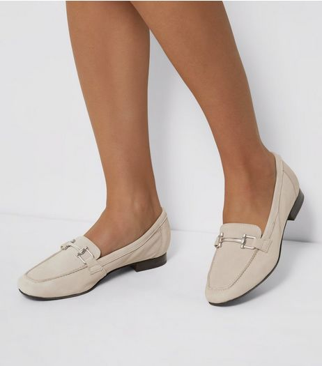 Grey Leather Metal Trim Loafers | New Look