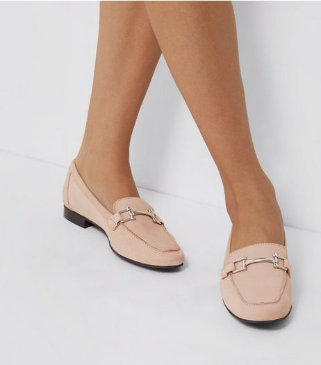 Pink Leather Metal Trim Loafers | New Look