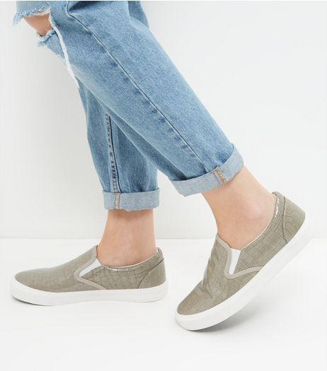 Grey Croc Textured Slip On Plimsolls  | New Look