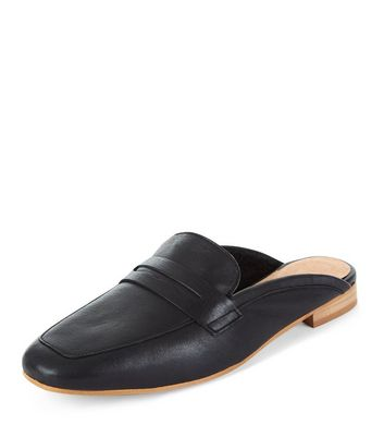 black-premium-leather-loafer-mules