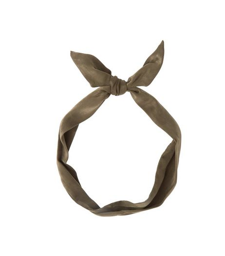 Khaki Satin Neckerchief | New Look