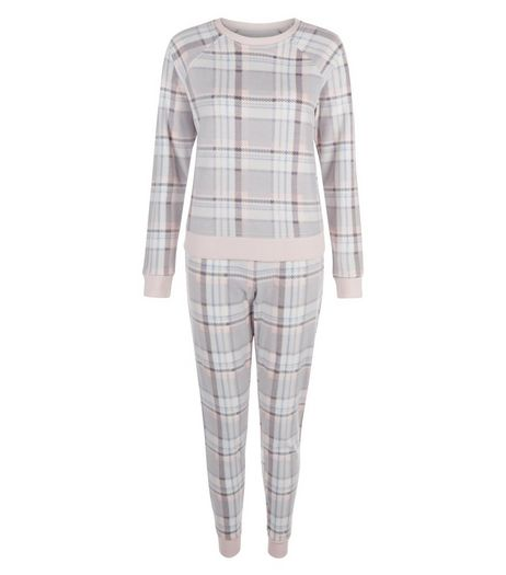 Teens Light Grey Check Pyjama Set  | New Look