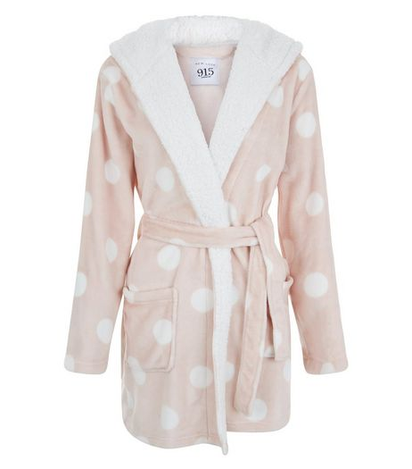 Teens Pink Spot Print Pompom Hooded Dressing Gown | New Look