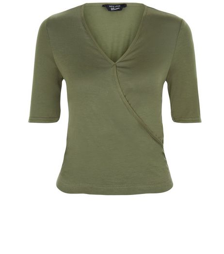Teens Khaki Wrap 1/2 Sleeve Top | New Look
