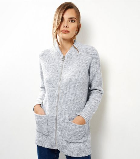 Pale Grey Double Pocket Bomber Cardigan  | New Look