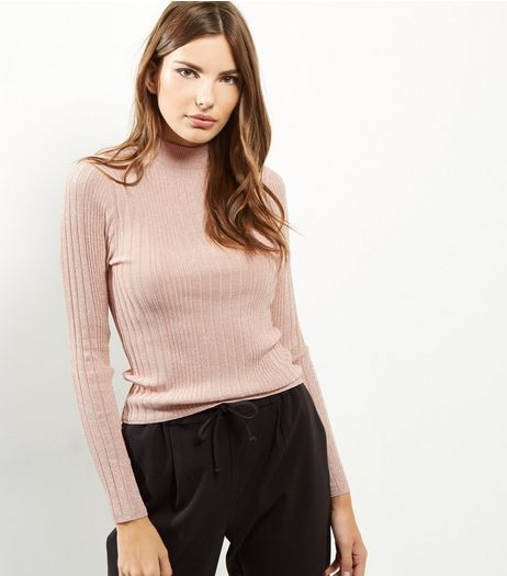 Pink Metallic Ribbed Fitted Funnel Neck Jumper  | New Look