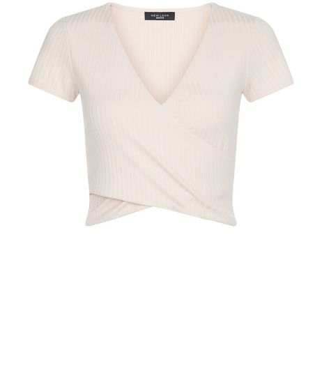 Petite Shell Pink Ribbed Wrap Top | New Look