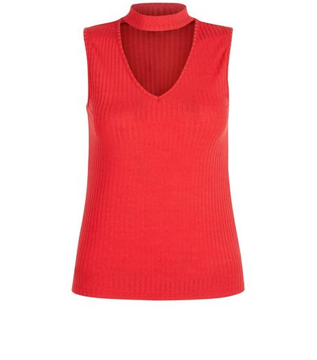 Petite Red Cut Out Ribbed Top | New Look