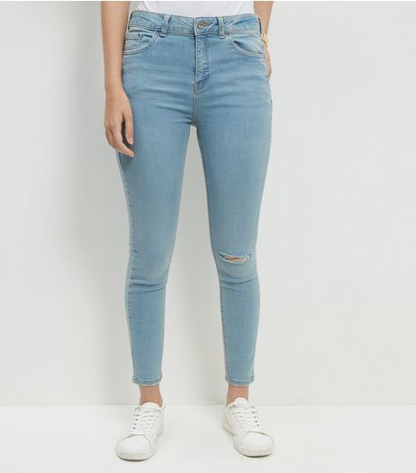 Blue Ripped Knee Ankle Grazer Skinny Jeans | New Look