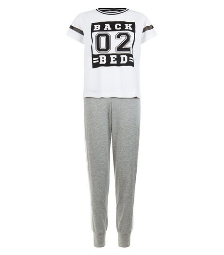 Teens Grey Back 02 Bed Pyjama Set | New Look