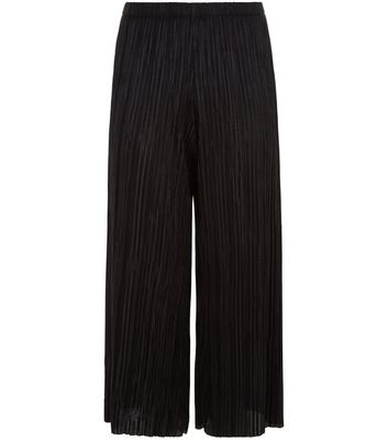 Petite Black Pleated Cropped Trousers