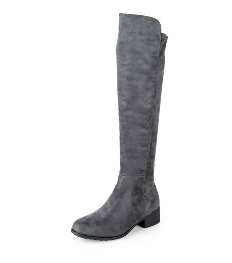 Teens Grey Suedette Knee High Boots | New Look
