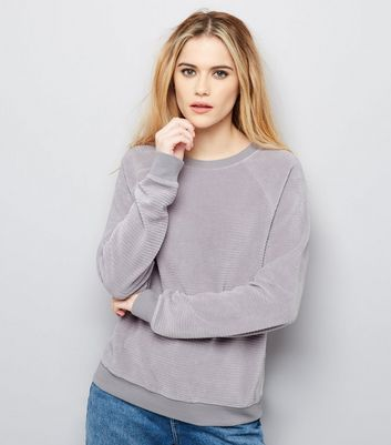 Product photo of Pale grey velvet long sleeve sweater