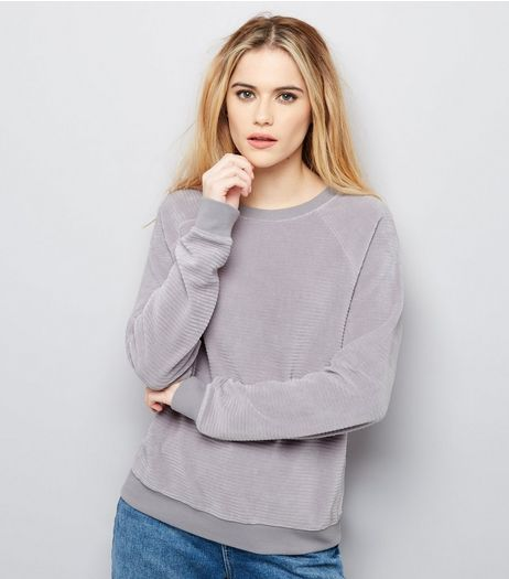 Pale Grey Velvet Long Sleeve Sweater  | New Look