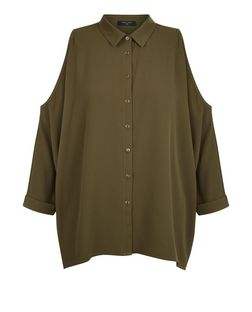 Tall Khaki Cold Shoulder 3/4 Sleeve Shirt | New Look