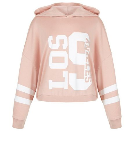 Teens Pink Los Angeles 9 Crop Hoodie | New Look