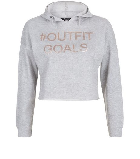 Teens Grey Outfit Goals Hooded Sweater  | New Look