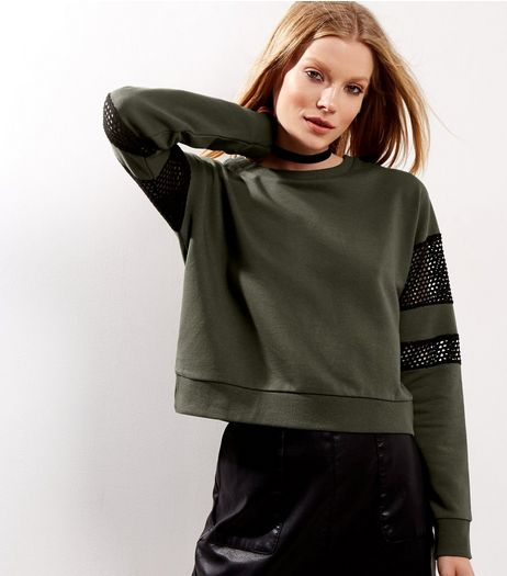 Khaki Mesh Panel Long Sleeve Cropped Sweater | New Look