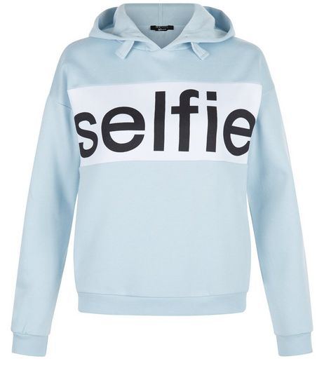Teens Blue Selfie Colour Block Hoodie | New Look