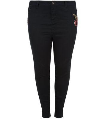 Curves Black Rose Embroidered Skinny Jeans