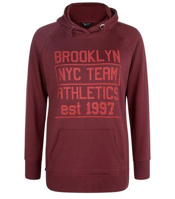 teens-burgundy-slogan-longline-hoodie