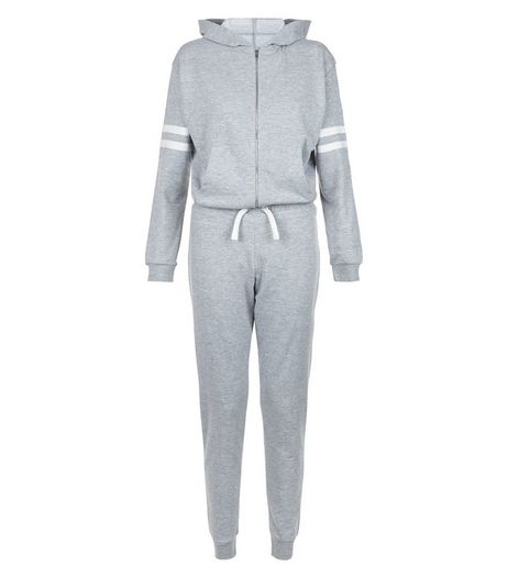 Teens Grey Stripe Sleeve Sweater Jumpsuit | New Look