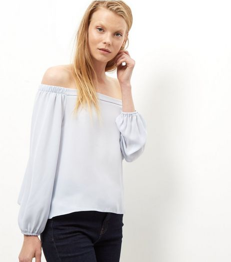 Pale Grey Bardot Neck Long Sleeve Top  | New Look