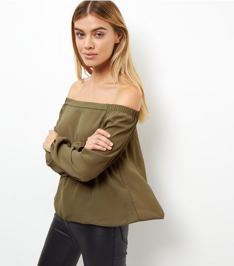 Khaki Bardot Neck Long Sleeve Top  | New Look