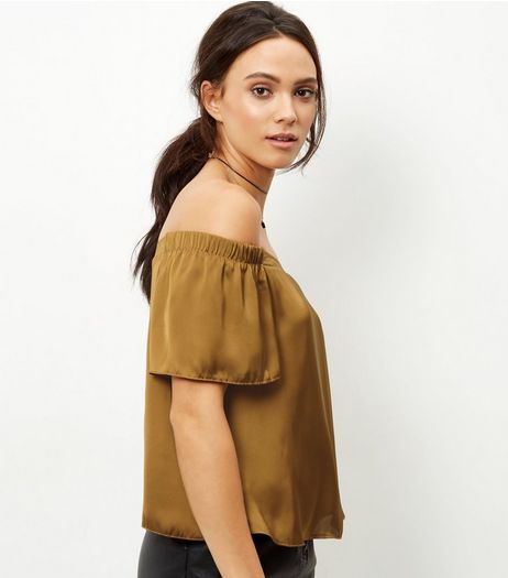 Khaki Sateen Bardot Neck Top | New Look
