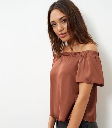 Peach Sateen Bardot Neck Top  | New Look