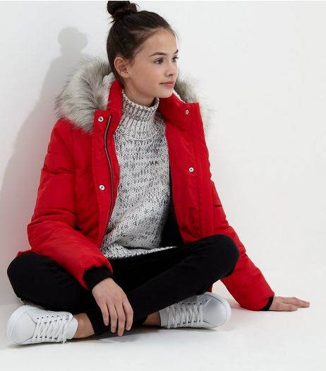 Teens Red Faux Fur Trim Hooded Puffer Jacket | New Look