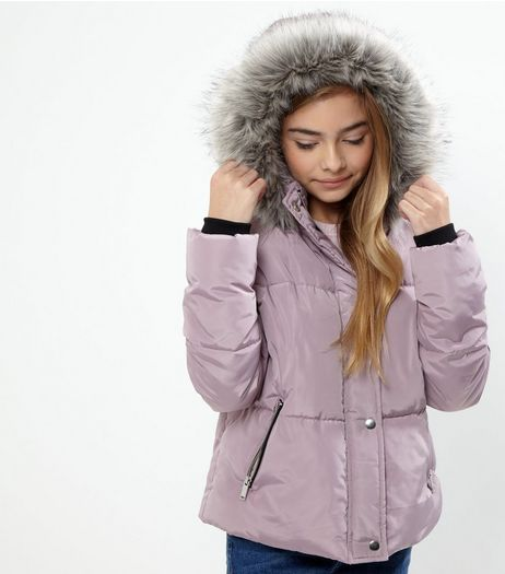 Teens Shell Pink Faux Fur Trim Hooded Puffer Jacket | New Look