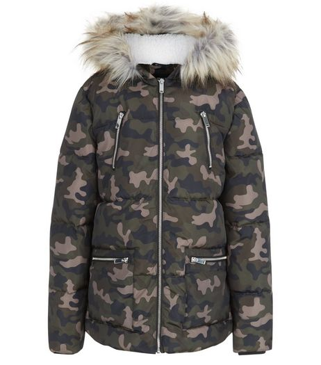 Teens Khaki Camo Print Fauf Fur Trim Puffer Jacket | New Look