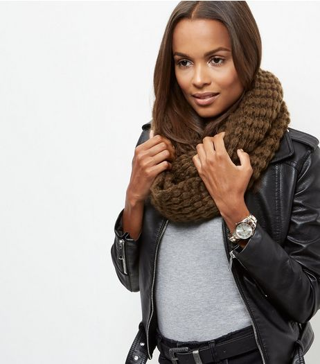 Khaki Knitted Snood | New Look