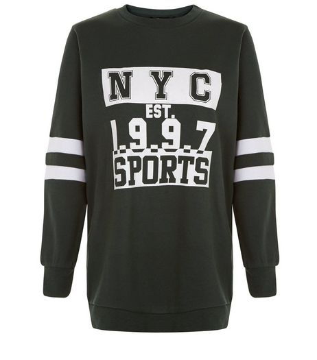 Teens Dark Green NYC EST 1997 Print Sweater | New Look