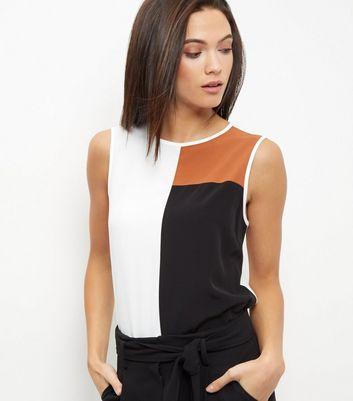 White Colour Block Vest