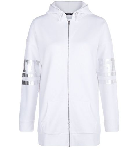 Teens White Longline Zip Front Hoodie | New Look