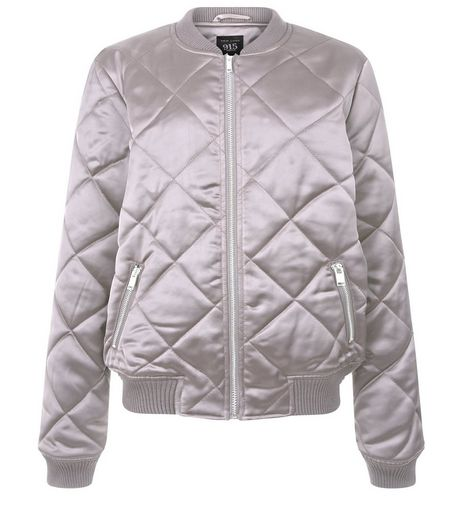 Teens Grey Quilted Sateen Bomber Jacket  | New Look