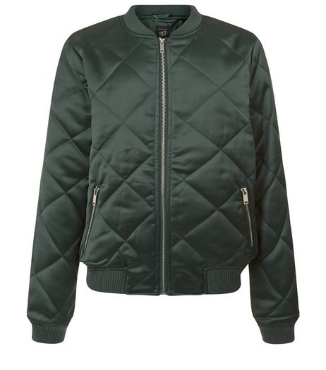 Teens Dark Green Quilted Sateen Bomber Jacket | New Look