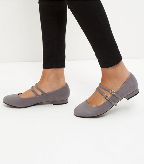 Wide Fit Grey Suedette Double Strap Pumps  | New Look