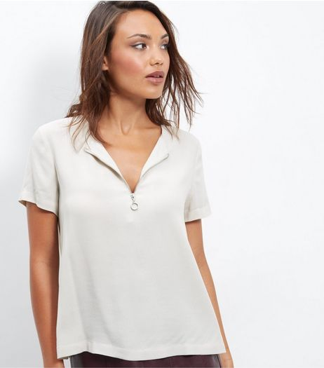 Stone Ring Zip Front T-Shirt  | New Look