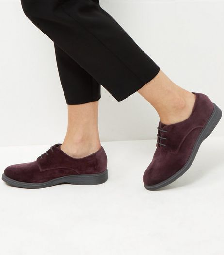 Wide Fit Dark Purple Velvet Chunky Brogues | New Look