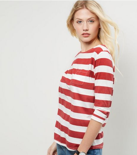 Red Stripe Single Pocket 3/4 Sleeve Top  | New Look